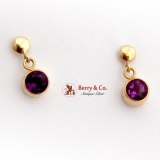 Dangle Amethyst Earrings 14 K Gold