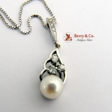 Estate Pearl  Drop Pendant Necklace 14 K White Gold Diamonds