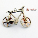 Vintage Bicycle Charm Movable Parts 10 K Gold