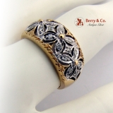 Wide Floral Openwork Band Ring Diamonds 14 K Gold