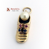 Vintage Baby Shoe Charm 14 K Gold Pearl Rubies Sapphires