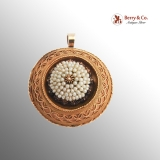 Victorian Round Pendant Brooch Seed Pearls 12 K Gold