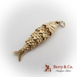 Vintage Gold Fish Reticulated Charm 14 K Gold
