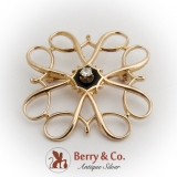 Ornate Open Work Brooch Enamel Diamond 10 K Gold