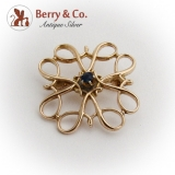 Ornate Open Work Brooch 10 K Gold Sapphire