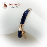 Vintage Lapis Bangle Bracelet 14 K Gold