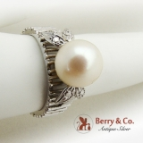 Pearl Ring 14 K White Gold