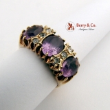 Amethyst Tripple Stone Ring 9 Ct Gold
