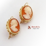 Estate Cameo Shell Dangle Earrings 14 K Gold