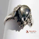 Vintage Heart Ring Black Star Sapphire 18 K White Gold Diamonds