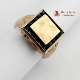 Square Ring Garnets 14 K Yellow Gold