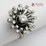Estate Diamond Cluster Ring 14 K White Gold