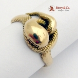 Vintage Snake Ring 14 K Gold Ruby Accent Eyes