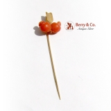 Vintage Gentlemans Stick Pin Carved Hearts and an Arrow 14 K Gold Coral