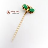 Vintage Gentlemans Stick Pin Butterfly or Bee 14 K Gold Jade