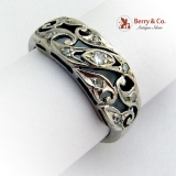 Estate Ornate Floral Openwork Band Ring 14 K White Gold Diamonds