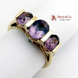 Estate Three Amethyst Ring 14 K Yellow Gold Diamond Accents