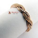 Estate Ornate Double Wave Band Ring Eternity Ring 14 K Rose Gold Diamonds