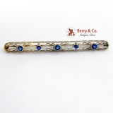 Vintage Ornate Open Work Bar Pin Brooch 14 K White Gold Sapphires