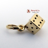 Estate 3-D Dice Charm 14 K Yellow Gold