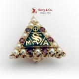 Vintage Phi Mu Alpha Sinfonia Pin 10 K Gold Seed Pearls Garnets 1931