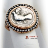 Custom Made Ring Silver Coin Diamonds 14 K Rose Gold Signed Corky