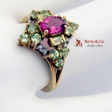 Dazzling Multi Color Tourmaline Ring 10 K Gold