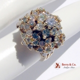 Estate Dazzling Harem Princess Ring 14 K Gold Diamonds