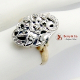 Estate Ornate Floral Openwork Ring 14 K White and Yellow Gold Diamond Accents