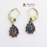 Estate Dangle Tear Drop Garnet Earrings 14 K Yellow Gold