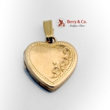 Estate Heart Locket Pendant Scroll Engravings 14 K Gold
