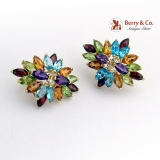 Estate Dazzling Colorful Earrings Colored Gem Stones 14 K Gold Amethyst Topaz Citrine Garnet