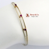 Estate Bangle Bracelet 14 K Gold Rubies