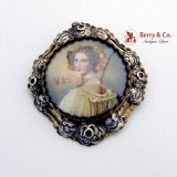Antique Miniature Portrait Brooch or Pendant 10 K Gold Silver