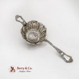 .Old Baronial Tea Strainer Blossom Bowl Gorham Sterling Silver Pat 1898