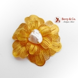 Stunning Filigree Flower Brooch Baroque Pearl 23K Yellow Gold