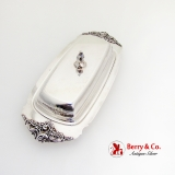 .Baroque Covered Butter Dish Glass Liner Wallace Silverplate 1960