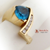 Trillion Cut Topaz Ring Diamond Channel Set 14K Yellow Gold