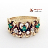 Openwork Heart Pattern Ring Emerald Diamond Accents 14K Yellow Gold