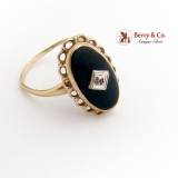Oval Onyx Ring Diamond Chip Accent Openwork Frame Yellow Gold 1900