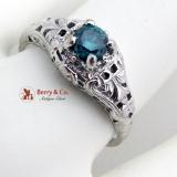 Edwardian Heat Treated Greenish Blue Diamond Ring 14K White Gold 1920