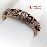 Vintage Scroll Openwork Ring Diamond Accents 14K Rose Gold
