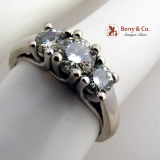 Dazzling Triple Moissanite Stone Ring 14K White Gold
