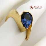 Tear Drop Tanzanite Cocktail Ring Wavy Form 14K Yellow Gold