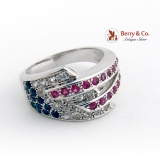 Wide Modernist Multistone Ring Rubies Diamonds Sapphires 14K White Gold