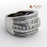 Spectacular Five Row Channel Set Diamond Ring Band 14K White Gold
