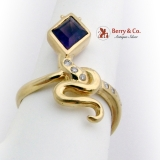 Figural Snake Amethyst Ring Diamond Accents 18K Yellow Gold