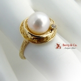 Round Swirling Design Cultured Pearl Ring White Gem Accent 14K Yellow Gold
