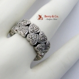 Two Row Diamond Heart Band Ring 18K White Gold