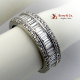 Fabulous Three Row Diamond Ring Band 14K White Gold